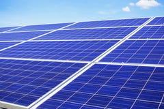 Solar panels on sky. Solar panels with the blue sky Stock Photo