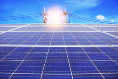 Solar panels with the sky . Solar panels of dirt with the blue sky Royalty Free Stock Photos