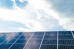 Solar panels with sky. Great for nature conservation concept Royalty Free Stock Images