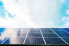 Solar panels with sky. Great for nature conservation concept Royalty Free Stock Photography