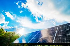 Solar panels with sky. Great for nature conservation concept Stock Image