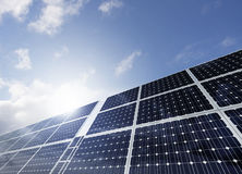 Solar Panels. And sky scene Stock Photo