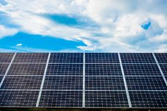Solar panels with sky. Great for nature conservation concept Stock Photography