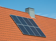 Solar panels small house Stock Photo