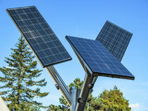Solar panels. Small solar panels on a pole Stock Image