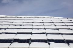 Solar Panels with Snow in Austria Royalty Free Stock Photos
