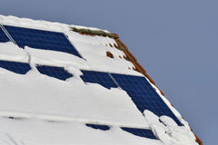 Solar panels with snow Royalty Free Stock Photo