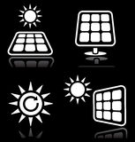Solar panels, solar energy icons set on black Royalty Free Stock Images