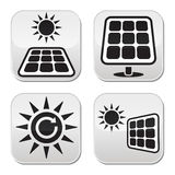 Solar panels, solar energy white buttons set. Vector buttons set of solar panels Royalty Free Stock Images