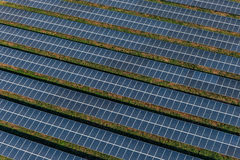 Solar panels, solar farms. Solar farm, solar panels aerial view Stock Photo