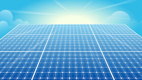 Solar Panels, Solar Power, Sun, Blue Sky Stock Photos