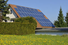 Solar panels in spring Stock Images