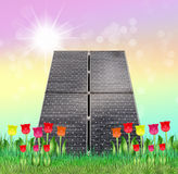 Solar panels in spring Royalty Free Stock Photos