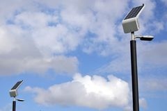 Solar panels on street lamps Royalty Free Stock Images