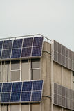 Solar panels in strips on building Stock Image