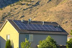 Solar panels on a suburban home. In Utah Valley Stock Photos