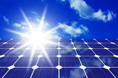 Solar panels with sun Stock Photo