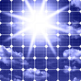 Solar panels with sun Stock Photography