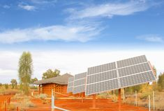 Solar panels, renewable sun energy production in desert, Africa stock photos