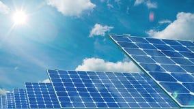 Solar Panels and Sun. 4K. Timelapse stock video