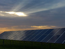 Solar Panels and Sunbeams  Royalty Free Stock Images