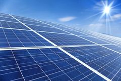 Solar Panels with sunlight Royalty Free Stock Image