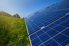 Solar panels in sunlight Royalty Free Stock Photos