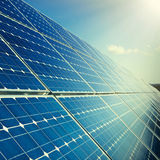 Solar panels with sunlight Royalty Free Stock Images