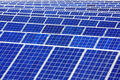 Solar panels with the sunny sky Stock Photo