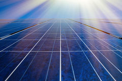 Solar panels and sunrays Stock Photography