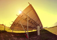 Solar panels at sunset. Royalty Free Stock Photography