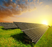 Solar panels at sunset. Stock Photography