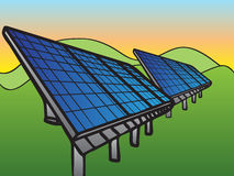 Solar Panels at Sunset Sky Royalty Free Stock Images