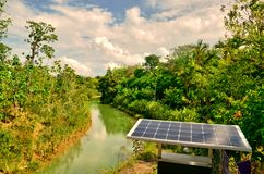 Solar Panels. Sustainable solar panels generating electricity for lighting at Gardens by the Bay, Singapore Stock Image