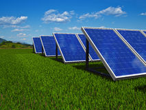 Solar panels system. Green energy from sun. Royalty Free Stock Photo