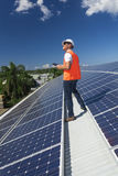 Solar panels with technician royalty free stock images