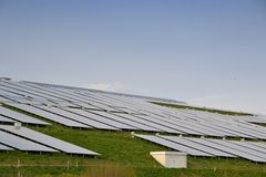 Solar panels to generate electricity. On a mountain Stock Image