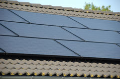Solar panels. On top of a roof Stock Photo