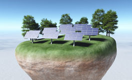 Solar panels on top of a terrain Stock Photo