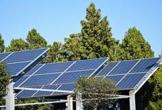 Solar panels and trees Stock Photo