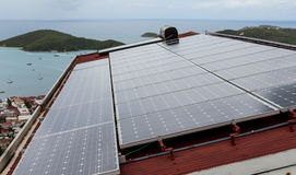 Solar Panels on Tropical House. Royalty Free Stock Image