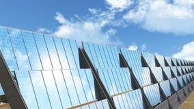 Solar Panels under cloudy blue sky 3D render Royalty Free Stock Photos