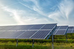 Solar panels under sky Royalty Free Stock Photos