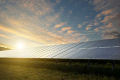 Solar panels under sky on sunset Royalty Free Stock Images