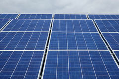 Solar panels used to generate electricity. From sunlight against clouds and sky. In selected focus. Close-up Royalty Free Stock Photography
