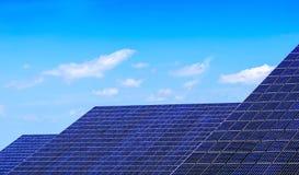 Solar panels. View of solar panels on blue sky Royalty Free Stock Photos