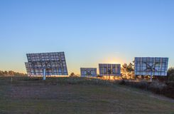 Solar panels wait for light to transform it into electricity. Solar panels are a very good source to transform the energy of the sun into electricity. Thanks to royalty free stock images