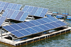 Solar panels  on the water. Royalty Free Stock Image