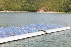 Solar panels  on the water. Stock Photo