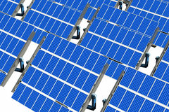 Solar Panels on White Stock Images